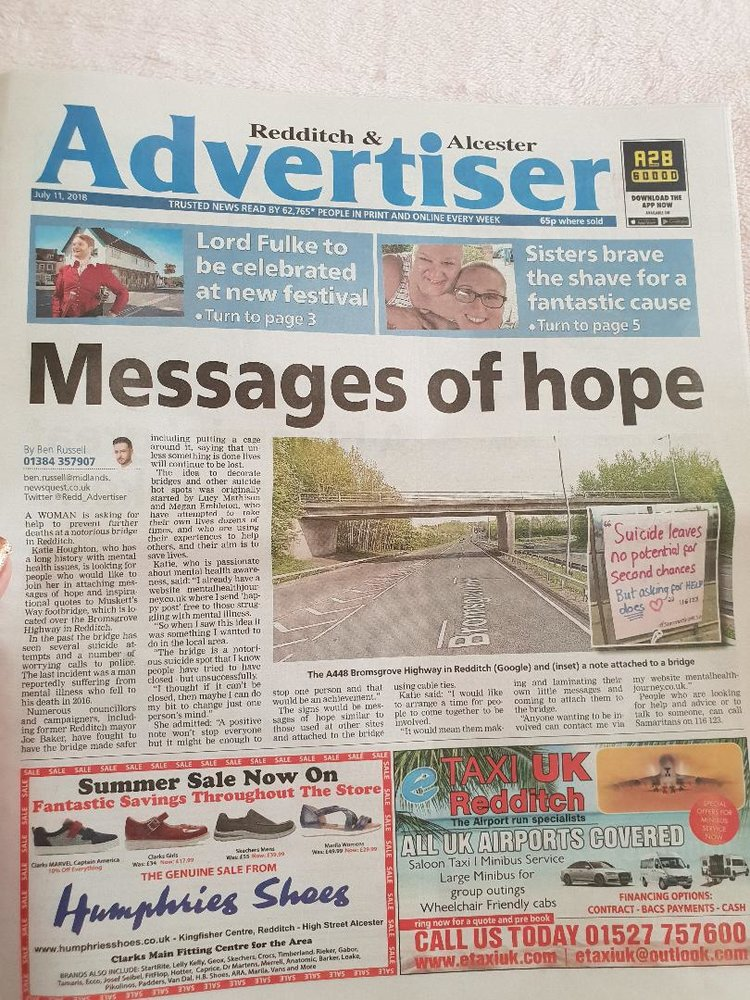 Redditch+Advertiser+musketts+way+bridge+redditch