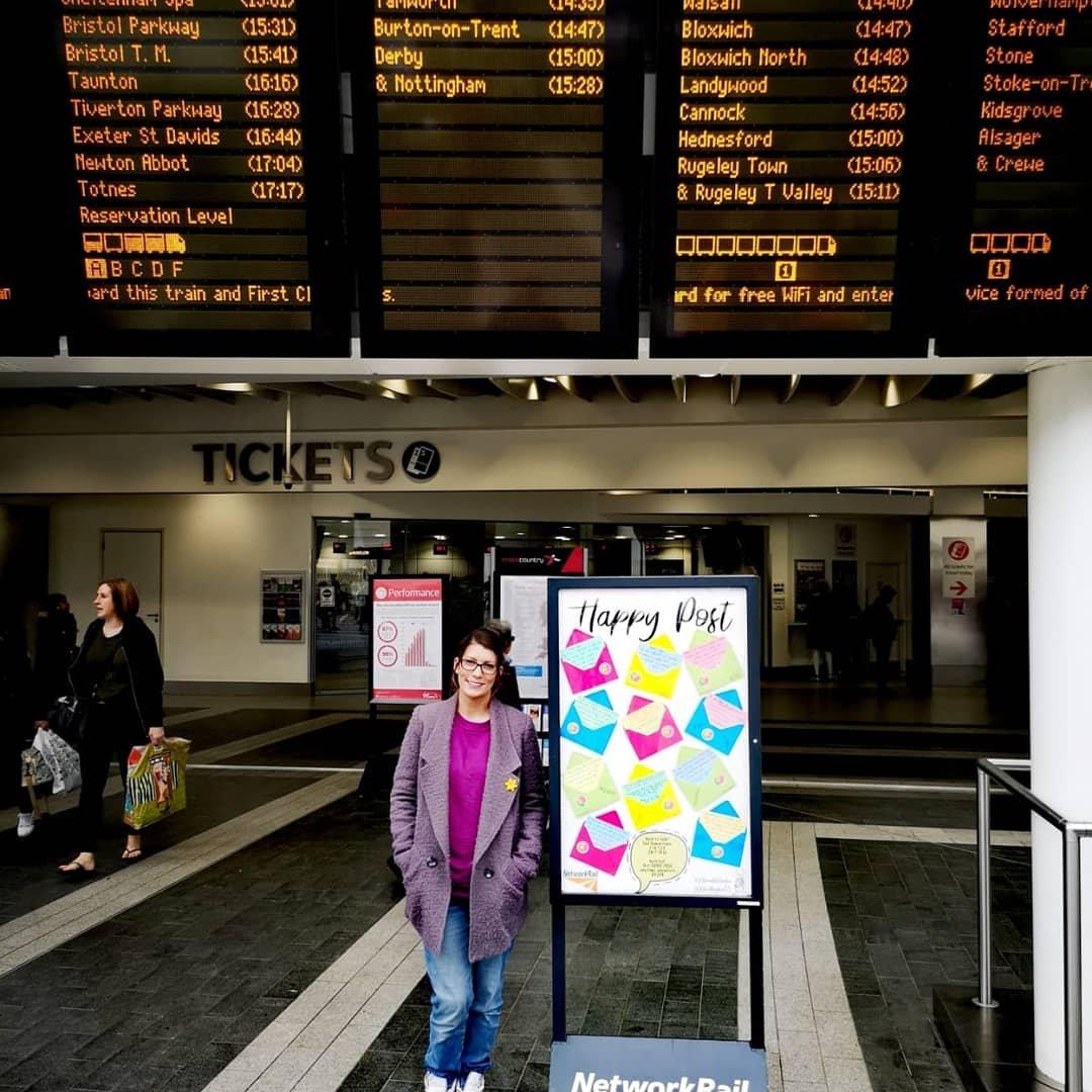 Happy post at Birmingham New Street Station - Mental Health awareness
